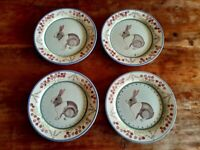 "ZRIKE DANNA CULLEN MEADOW BUNNY 8.5"" Dinner Plate Set of FOUR"