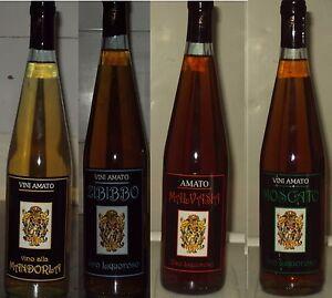 VINO BIANCO LIQUOROSO malvasia,zibibbo,moscato,mandola( Sicilia che gusto)4x75cl