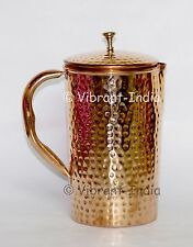 Pure Copper Handmade hammered Pitcher jug health benefit Indian Ayurveda yoga
