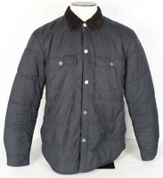 TOMMY HILFIGER Men's L Blue Button Snap Front Jacket Coat Insulated Quilted EUC