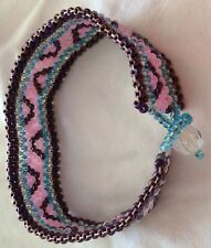 Purple & Pink Beaded Bracelet.  2cm Wide.  17cm Long.  Hook & Eye Closure