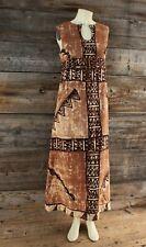 Vintage Homemade Barkcloth Hawaiian Tapa Tribal Pattern Dress No Tag but Medium