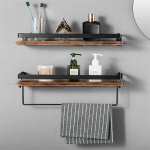 2 Set Industrial Wood Shelf Display Floating Wall Mount Shelt Retro Bookshelf AU