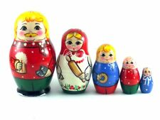 Nesting Dolls Russian Matryoshka Babushka Stacking Wooden Toys New set 5 pcs 4in