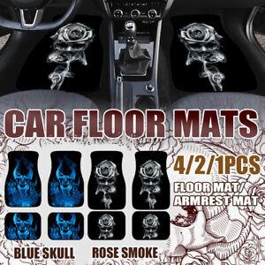 4/2/1 Pcs Car Seat Mats Rubber Back Universal Fit Non Slip Dustproof Skull