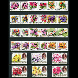 NIUE 1981 Flowers. Set of  30 Values. SG 381-410 Mint Never Hinged. (WF107)
