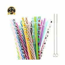 "Subang 50 Pack Reusable Straws, Bpa-Free, 9"" Colorful Hard Plastic Stripe Dri."