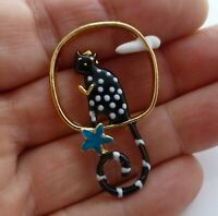 Cute cat brooch black white spotty enamel kitty cloud flower vintage style pin