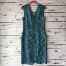 London Times Sz 8 Blue Metallic Sleeveless V-Neck Scalloped Lined Dress Formal