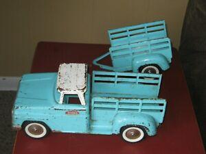 Vintage Tonka Toys Mound MN Pressed Steel Stepside Pick Up Truck & Trailer -