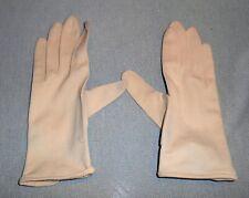 Vintage * Ladies Gloves * plastic pearl button off white tan beige