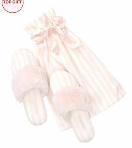 VICTORIA'S SECRET CLASSIC WHITE PINK STRIPE FUZZY COZY SATIN SLIPPERS MEDIUM 7 8