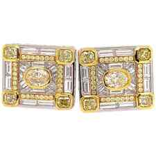 Beautiful 3.89Ct Canary and White Diamond 14K Two Tone Gold Over Men's Cufflinks