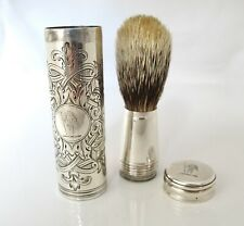 More details for victorian travelling shaving brush with crest thomas johnson london 1885