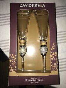 🥂DAVID TUTERA SET OF 2 RHINESTONE ACCENT TOASTING CHAMPAGNE FLUTE GLASSES-NEW