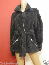 GUCCI MADE IN ITALY VINTAGE GRAY SHEARLING FUR BELTED ZIP-UP JACKET COAT SZ L