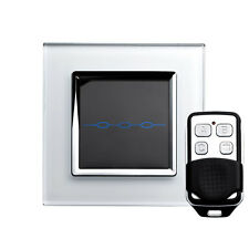 RetroTouch 00006 3 Gang White Glass Remote Control Touch Light Switch with Fob
