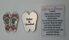 e Flip flop relax unwind LIFE IS A BREEZE pocket charm message token beach lover