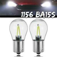 2X COB LED 1156 BA15S P21W Car Turn Signal Reverse Lamp Bulbs DC 12V-24V White
