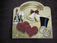 Handmade Card Topper.- Pull Out CONGRATULATIONS. WEDDING. ANNIVERSARY