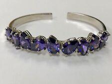 925 Sterling Silver Genuine Pear Cut Amethyst Gemstone Cuff Bracelet