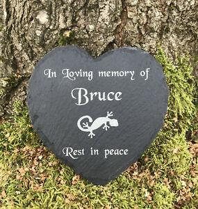 Personalised Engraved Pet Memorial Heart Grave Marker Plaque Lizard Gecko Iguana