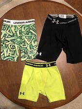 Under Armour Lot Base Layer Shorts Fitted Youth Small S Heat gear Black Green