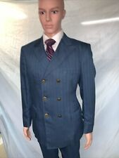 Vtg 1970s Towncraft Double Breasted Blue Pinestripe Flat Front Suit 40