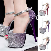 Women's Glitter Sequin Ankle Strap Platform Shoes Peep Toe Banquet Party Sandals