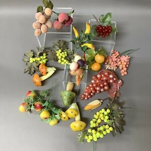 Lot Faux Plastic Fruit And Vegetable Floral Picks. 15 Pieces Kitsch Mushrooms
