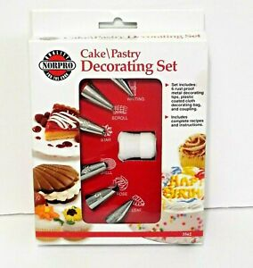Norpro Cake Pastry Cookie Decorating Set 6 Tips Bag Coupling Directions 3562 New