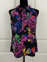 Trina Turk Womens Size 8 100% Silk Pussy Bow Floral Sleeveless Blouse