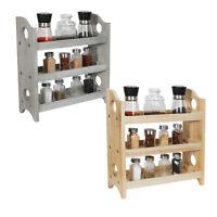 3-Tier Wall-Mount Wooden Spice Rack Bottle Holder Bathroom Kitchen Countertop
