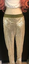 New Gold Sequenced leggings inside lined X small skinny pants great for shows,