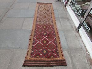 Vintage Kilim Traditional Hand Made Oriental Brown Wool Kilim Runner 289x72cm