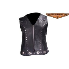 Womens Studded Leather Motorcycle Vest With Concealed Carry Pockets # LV8505-11