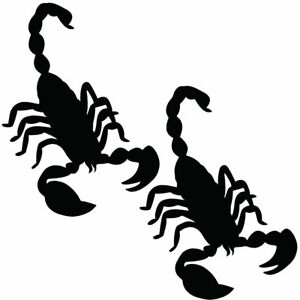 Qty 2 Scorpion 2 Stickers Car Window Wall Decals Any Colour EEE 10cm - 50cm