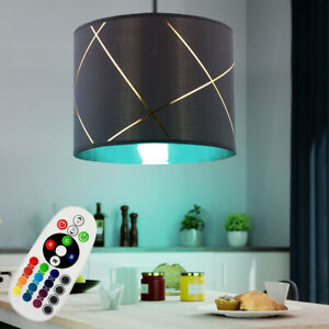 RGB LED Luminaire Suspendu Variateur Changement Lampe Noir Design Plafonnier Or