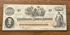 1862 Csa $100 T-41, Inverted Csa Script Watermark, Hoeing Cotton Design