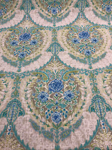 P Kaufman Blue Green Mural Floral Tidepool Linen Fabric By the yard