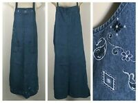 Vintage Carolina Bay Denim Floral Blue Jean Summer Maxi Jumper Dress Womens sz M