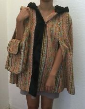 Vintage 1960's Poncho Cape, Flowers Rockabilly Hippie Peace Coat with Bag