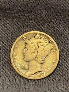 1921 D MERCURY SILVER DIME FINE F CIRCULATED COIN DENVER MINT no reserve!