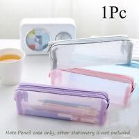 Cosmetic Mesh Pen Bag Cosmetic Storage Zipper Pencil Case Transparent Grid