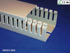 """1 New 2""""x1.5""""x2m Narrow Finger Open Slot Wire Cable Raceway Duct Cover,PVC,Gray"""