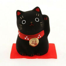 "Japanese 2-1/4""H Black Ceramic Maneki Neko Lucky Cat for SAFETY, Made in Japan"