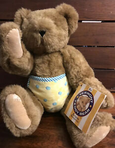 Vermont Teddy Bear Company BROWN JOINTED TEDDY BEAR w/ Blue Yellow DIAPER Plush