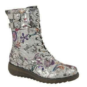 Ladies Ankle Boots Zip 9 Eye Lace Up Floral Memory Foam Shoes Grey Size 4-7 UK