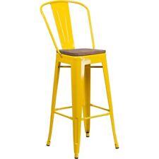 """Flash Furniture 30"""" Yellow Metal Barstool w/Back - CH-31320-30GB-YL-WD-GG"""