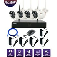 Anspo 4CH Wireless 960P HD NVR Outdoor Home WIFI Camera CCTV Security System Kit